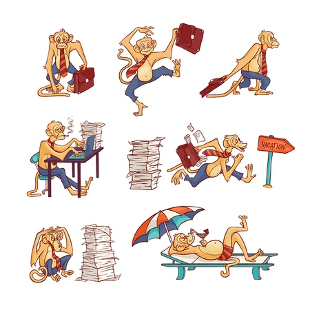 Monkey office worker set with overworked and relaxing on beach furry animal in business pants and tie with briefcase or in swimwear in isolated hand drawn vector illustration.