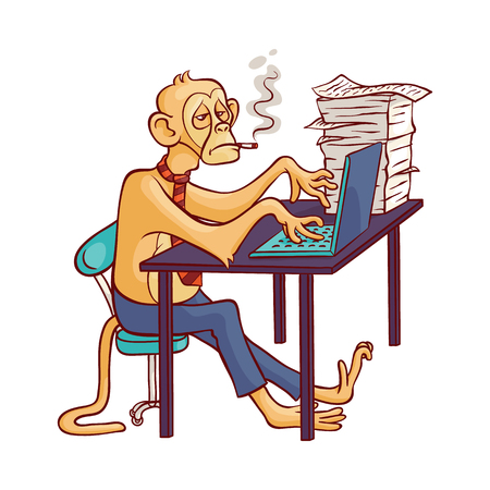 Tired and overworked monkey in business pants and tie smoking cigarette sitting at office table with stack of paper documents and working at laptop in sketch style - isolated vector illustration.