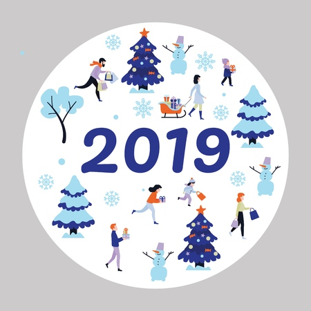 2019 new year, christmas holiday poster with symbols and characters set. Men and women, kids running with present boxes within winter trees with snowcaps, snowman and snowflakes vector