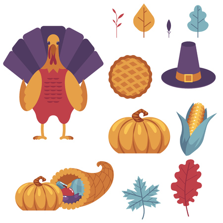 Thanksgiving holiday set. Autumn, harvest and thanksgiving symbols - horn of planty, cornucopia, pilgrim hat pumpkin apple pie, turkey abstract leaves, corn and vegetables. Vector illustration