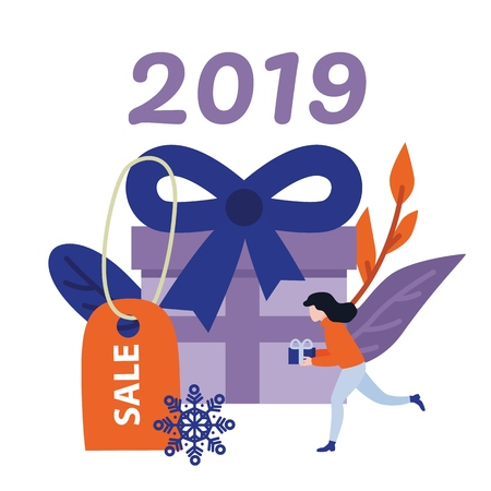 New 2019 Year holiday sale banner with big wrapped violet present box with bow and discount label and young woman with gift running isolated on white background in flat vector illustration. Standard-Bild - 110946833