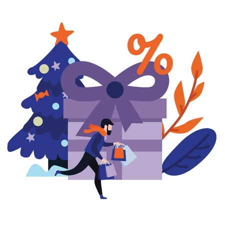 Flat man in winter outdoor clothing running holding shopping bags with purchases made during store clearance and discounts on background of decorated christmas tree, present box. Vector illustration