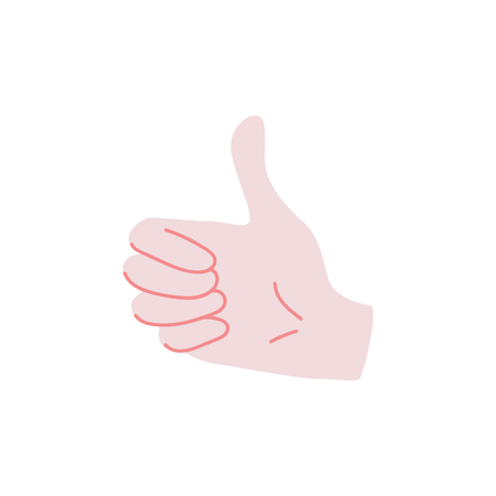 Like sign - human hand showing thumbs up gesture isolated on white background. Wrist with ok meaning - flat vector illustration of body part for success concept.
