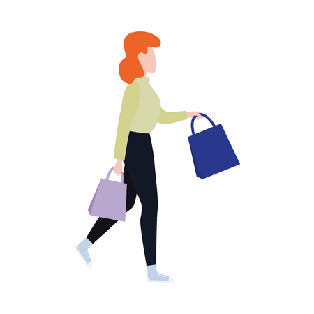Flat woman in winter outdoor clothing running holding shopping bags with purchases made during store clearance and discounts. Female character with goods. Vector illustration