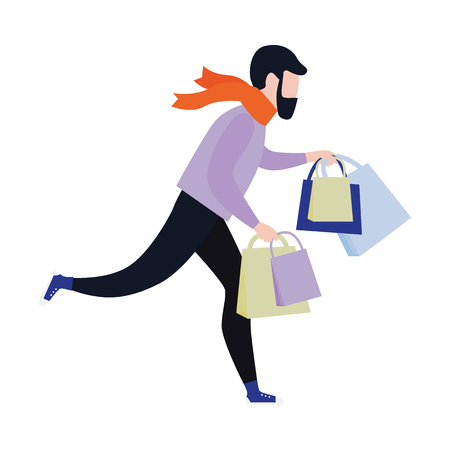 Flat man in winter outdoor clothing running holding shopping bags with purchases made during store clearance and discounts. Male character with goods. Vector illustration
