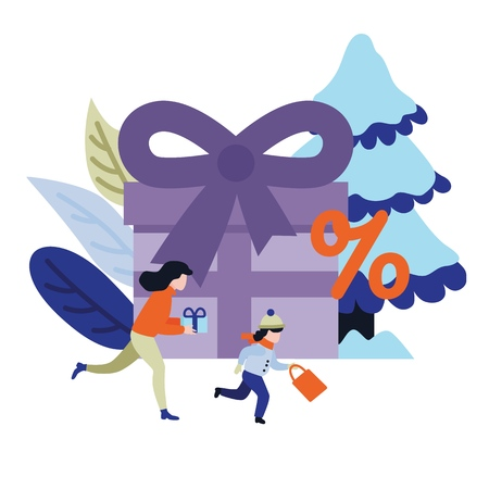 Flat woman, kid girl in winter clothing running holding shopping bags, presents with purchases made during store clearance and discounts on background of decorated christmas tree, present box. Vector Illustration