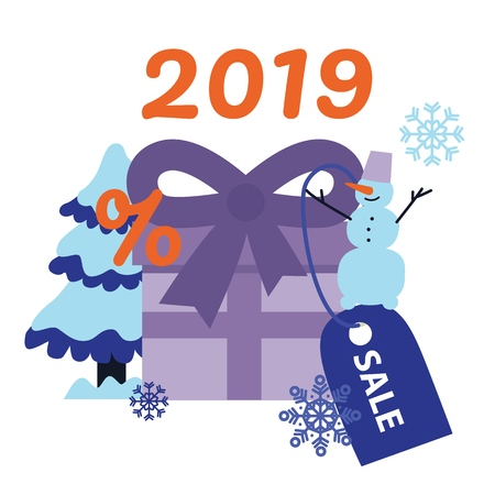 New 2019 Year holiday sale banner with big wrapped violet present box with bow and discount label and snowman with tree isolated on white background in flat vector illustration.