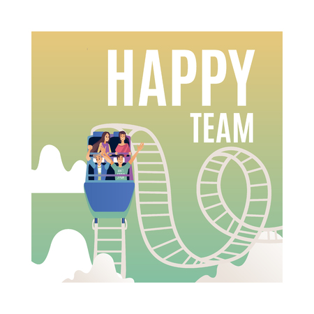 Vector happy team poster with smiling male and female colleagues riding roller coaster with excitement. Successful cooperation, teambuilding within businessmen and businesswomen.