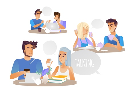People talking vector illustration set with cartoon male and female characters sitting at table discussing and drinking coffee isolated on white background - pleasant conversation concept.
