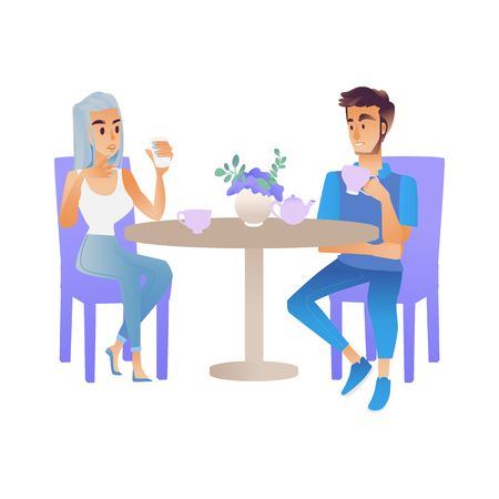 Vector illustration of meeting or date of two young people - cartoon male and female character sitting at table drinking hot beverage and talking isolated on white background.  イラスト・ベクター素材