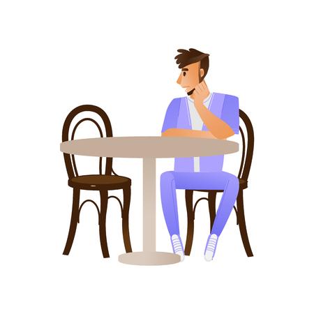 Vector junger Mann, der allein am Tisch sitzt und auf jemanden im Café, Restaurant oder zu Hause wartet, der diskutiert. Männlicher Charakter wartet auf Dating, Geschäftsgespräch. Vektorgrafik