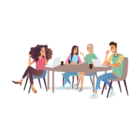 Business meeting vector illustration with young people chatting and discussing tasks at conference table with laptops and documents in cartoon style isolated on white background.