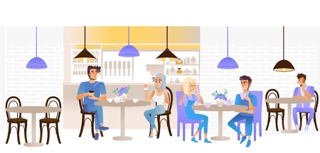 Vector young men and women couples and single talking sitting at table with coffee or tea cups and flowers in vase holding smartphone in cafe, restaurant interior. Dating and communication