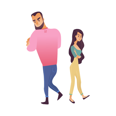 Vector illustration of offended young couple isolated on white background - male and female characters standing with each others back with dislike on faces in cartoon gradient style.