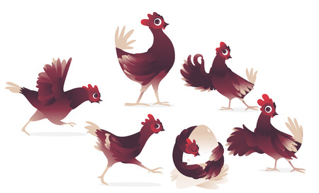 vector cartoon cute red brown chicken, roosters and chicks set. Bird animal characters learning to fly running, hugging eggsm showing okey gesture, waving wings in greeting.