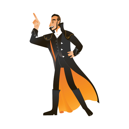 Vector illustration of man in vampire or count Dracula costume for halloween party invitation or greeting card in cartoon style isolated on white background - guy in autumn holiday wear.