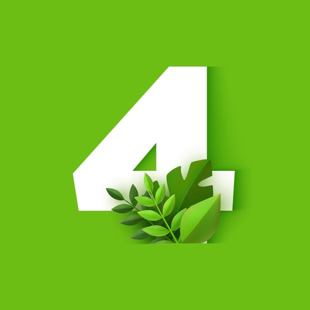 Vector illustration of number four design with tropical leaves isolated on green background - numeral 4 with fresh plant foliage in trendy paper art. Seasonal floral element. Illustration