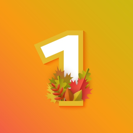 Vector autumn one number 1 with forest leaves on orange background. Seasonal typography symbol illustration with floral maple oak tree leaves, thanksgiving holiday sign Vettoriali