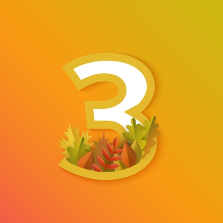 Vector autumn three number 3 with forest leaves on orange background. Seasonal typography symbol illustration with floral maple oak tree leaves, thanksgiving holiday sign Ilustração
