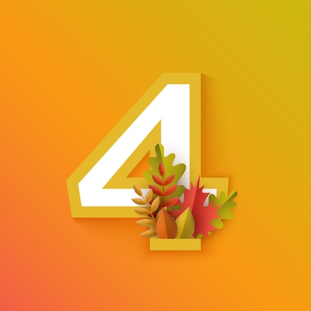 Vector autumn four number 4 with forest leaves on orange background. Seasonal typography symbol illustration with floral maple oak tree leaves, thanksgiving holiday sign
