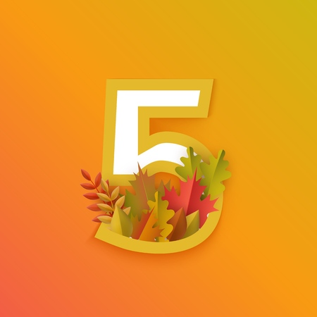 Vector autumn five number 5 with forest leaves on orange background. Seasonal typography symbol illustration with floral maple oak tree leaves, thanksgiving holiday sign
