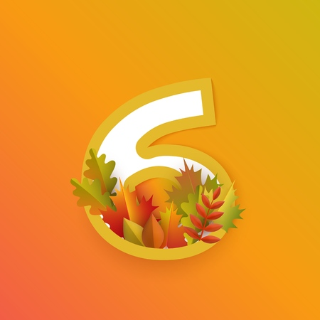 Vector autumn six number 6 with forest leaves on orange background. Seasonal typography symbol illustration with floral maple oak tree leaves, thanksgiving holiday sign