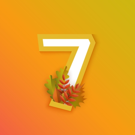 Vector autumn seven number 7 with forest leaves on orange background. Seasonal typography symbol illustration with floral maple oak tree leaves, thanksgiving holiday sign Ilustração