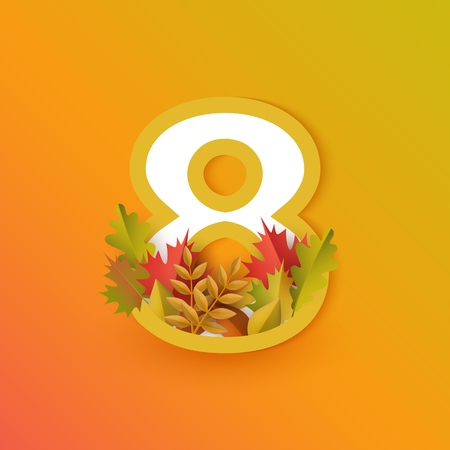 Vector autumn eight number 8 with forest leaves on orange background. Seasonal typography symbol illustration with floral maple oak tree leaves, thanksgiving holiday sign