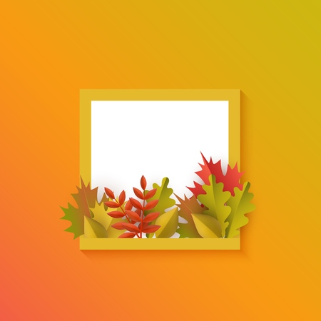 Vector autumn leaves with pumpkins square frame on orange background. Advertising poster template with floral maple oak tree orange leaves, harvest vegetable for thanksgiving holiday seasonal design