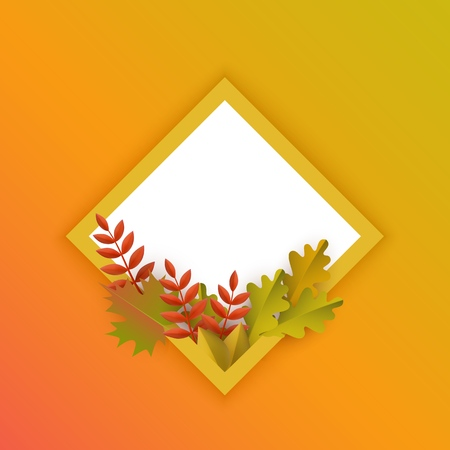 Vector autumn leaves with pumpkins rhombus frame on orange background. Advertising poster template with floral maple oak tree orange leaves, harvest vegetable for thanksgiving holiday seasonal design