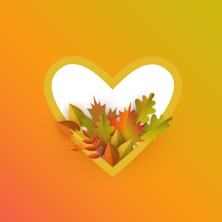 Vector autumn leaves with pumpkin heart frame on orange background. Advertising poster template with floral maple oak tree orange leaves, harvest vegetable for thanksgiving holiday seasonal design  イラスト・ベクター素材