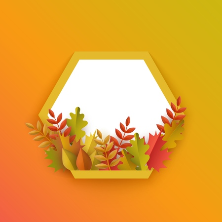 Vector autumn leaves with pumpkin hexagonal frame on orange background. Advertising poster template with floral maple oak tree orange leaves, harvest vegetable for thanksgiving holiday seasonal design