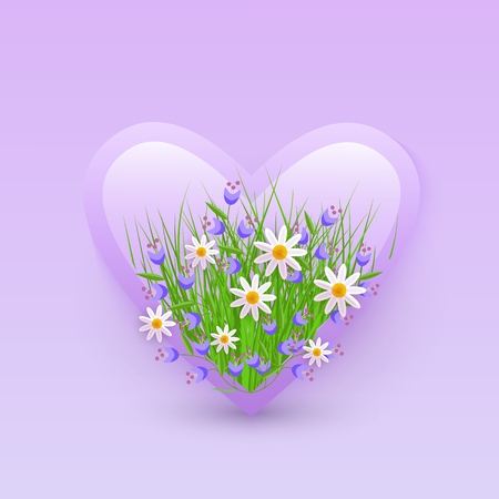 Vector illustration of floral decorative element in heart shape - tender white camomiles and little blue wildflowers in badge isolated on gradient violet background for romantic design.