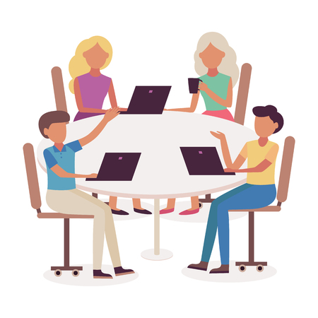 Business meeting vector illustration with team of young men and women brainstorming and discussing tasks at conference table with laptops in flat style isolated on white background. Illustration