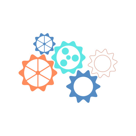 Mechanical gear wheels vector icon in flat style isolated on white background - symbol of settings. Illustration of motion and connection concept with various cogwheels.
