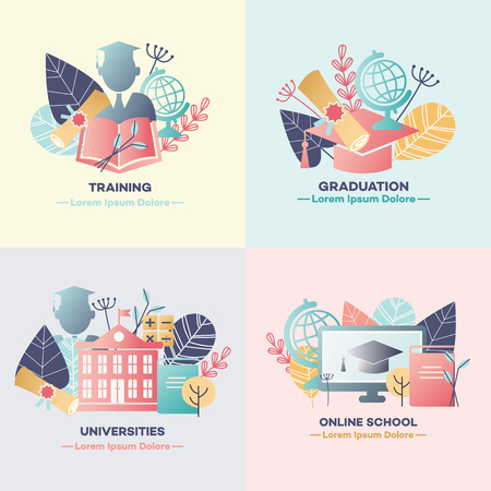 Education banners set with various symbols of studying process and graduating isolated on colorful backgrounds - flat vector illustration of knowledge acquisition at university or courses.
