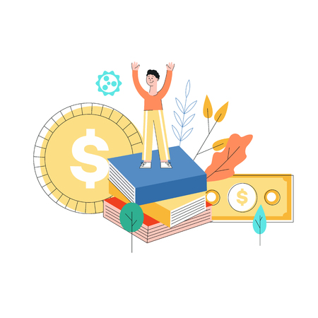 Vector business success concept with man raising hands up standing at big books pile on the background of abstract florals, gear and huge gold coin and dollar banknote. Flat illustration