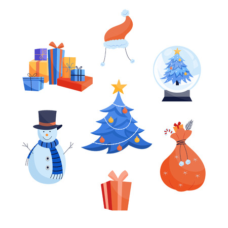 Winter holidays icons set - various Christmas and New Year symbols isolated on white background. Flat vector illustration of seasonal traditional elements for congratulation design.
