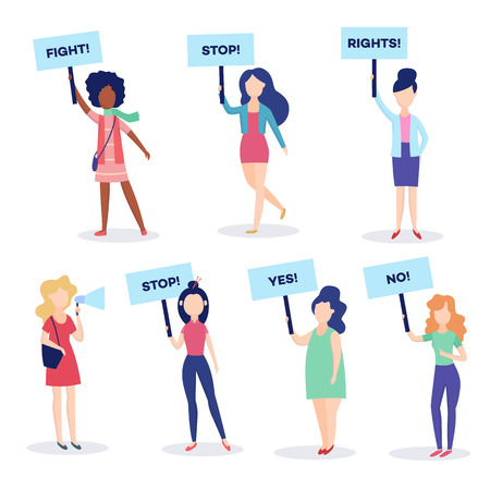 Vector woman standing holding megaphone loudspeaker, protest placards set. Young female character striking for women and feminism rights. African, caucasian girls on demonstration meeting illustration