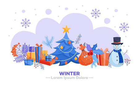 Winter holidays horizontal banner - various Christmas and New Year symbols isolated on white background. Flat vector illustration of seasonal traditional elements on congratulation card.