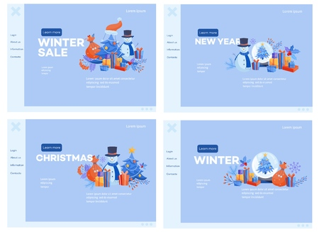 Winter and holidays web banners set with various traditional symbols on website templates for seasonal, Christmas and New Year promotion or congratulation in flat vector illustration. 向量圖像