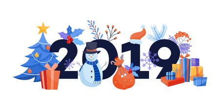 New 2019 Year horizontal banner with various winter holiday symbols isolated on white background - flat vector illustration of traditional event elements for congratulation design.