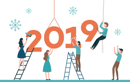 Vector illustration of 2019 text design with people constructing and painting big number surrounded by snowflakes isolated on white background. New Year flat congratulation design with builders.