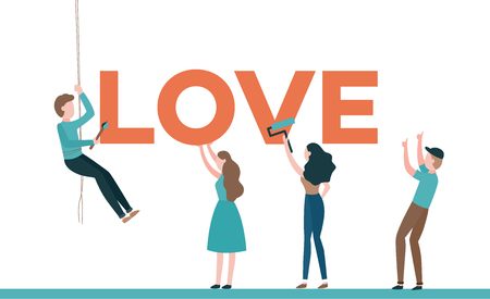Love text design vector illustration with men and women placing and painting big letters isolated on white background. Male and female characters building word for flat design. Illustration
