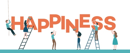 Happiness text design vector illustration with men and women placing and painting big letters isolated on white background - flat male and female characters constructing word.