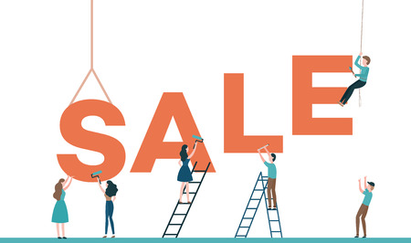 Sale text design vector illustration with builders constructing word isolated on white background. Flat male and female characters placing and painting big letters for discounts concept. 일러스트