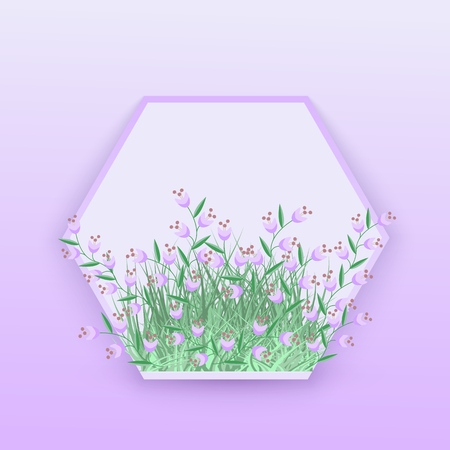 Floral seasonal vector illustration with little violet wildflowers in hexagon shaped badge with empty space for text isolated on tender gradient background - decorative element for natural design.