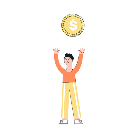 Vector illustration of young man with big golden dollar coin above him isolated on white background - happy smiling flat male character with arms raised and money symbol. Vettoriali