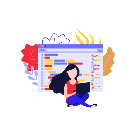 Application development vector illustration with young woman sitting with laptop and programming app isolated on white background. Flat female IT specialist working out software.