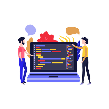 Application development vector illustration with young men stand near big laptop with code discussing and programming app - flat isolated IT specialists team working out software.